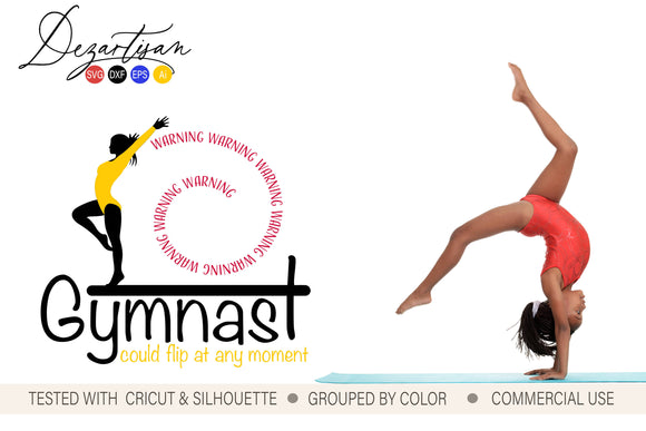 Warning Gymnast Could Flip SVG | DXF Cut File
