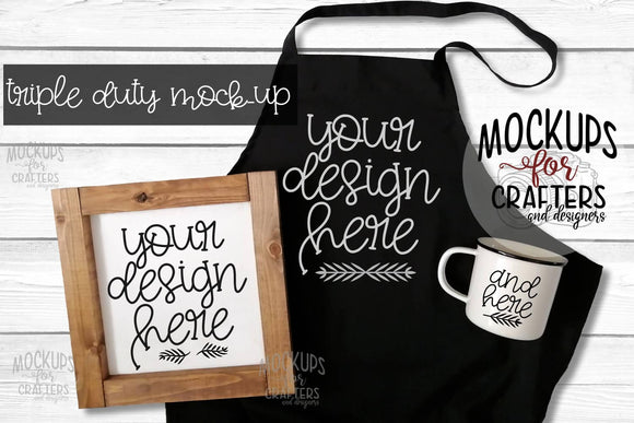 TRIPLE DUTY Mock-Up - Apron, Sign & Mug