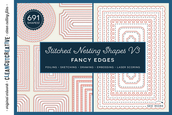 Stitched Nesting Shapes V3 Fancy Edges | card making sketch foil quill draw score stitch edge paper craft SVG