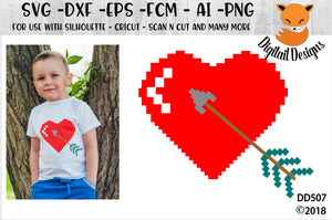 Pixelated Heart and Arrow