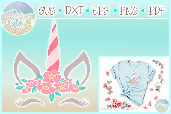 Unicorn Face with Flowers SVG