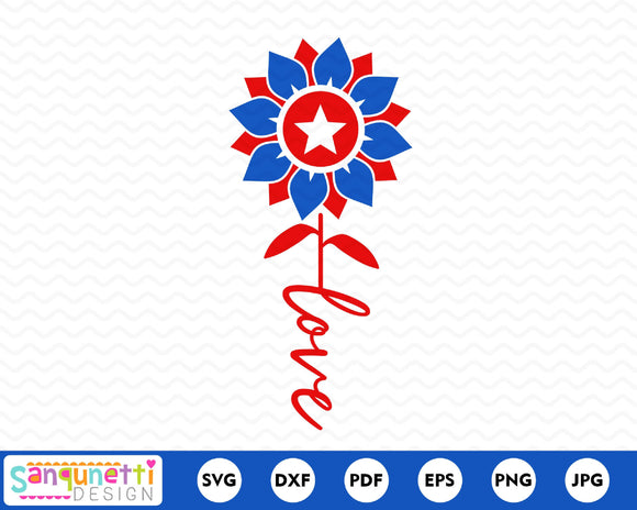 Patroitic Sunflower SVG, love flower cutting file
