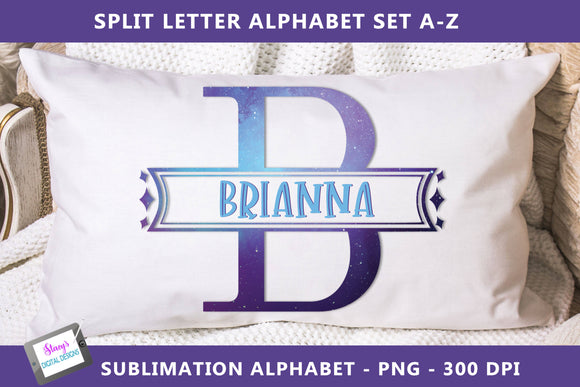 Sublimation Split Letters - Galaxy monogram set A-Z