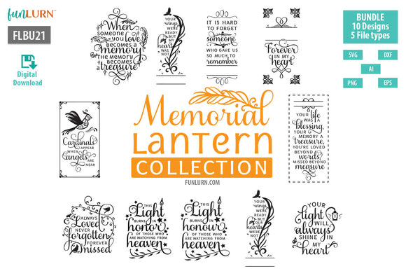 Memorial Lantern Collection SVG Cut File Bundle