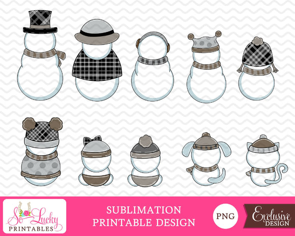 Snowman Family Backside Set of 10 Neutral watercolor printable sublimation design - Digital download - PNG - Printable graphic design