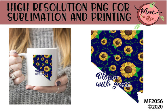 Nevada Sunflower Bloom In Grace Sublimation Design