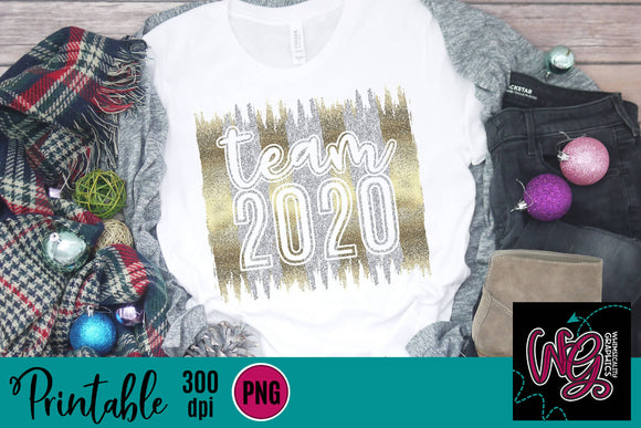 Team 2020 New Year's Glitter Printable 300 dpi PNG