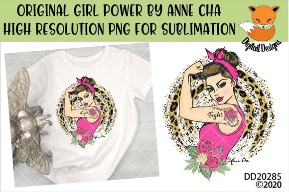 Girl Power By Anne Cha Art Breast Cancer Fight Sublimation Design