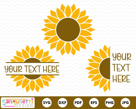 Sunflowers SVG, split sunflower design, half sunflower cut file