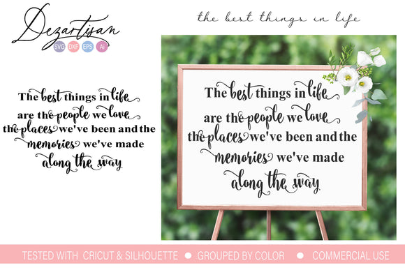 The Best Things In Life SVG | DXF Cut File