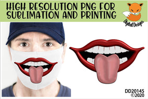 Funny Lips Face Mask Sublimation Design