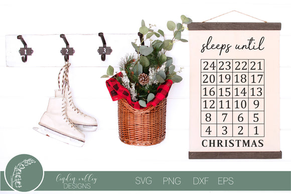 Sleeps Until Christmas Countdown SVG