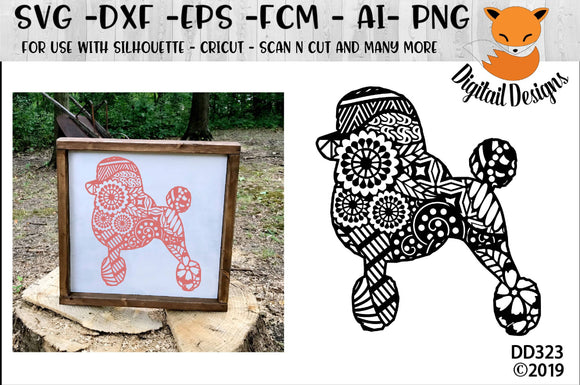 Zentangle Standard Poodle Dog SVG