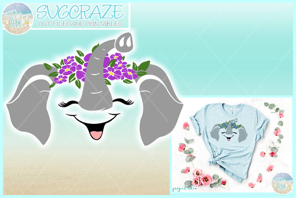 Elephant Face with Flowers SVG Dxf Eps Pdf PNG Files for Cricut