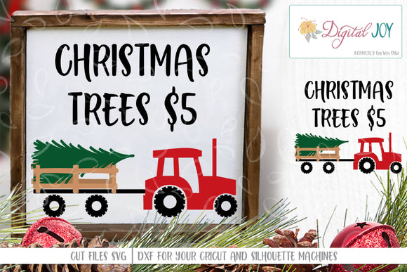 Tractor With Christmas Tree Cut File