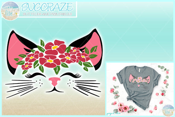 Kitty Cat Face with Flowers SVG Dxf Eps Pdf PNG Files for Cricut