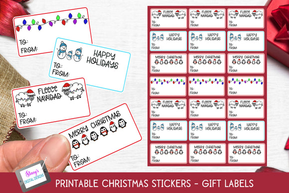 Christmas Stickers - Print and Cut Gift Stickers - Gift Tags