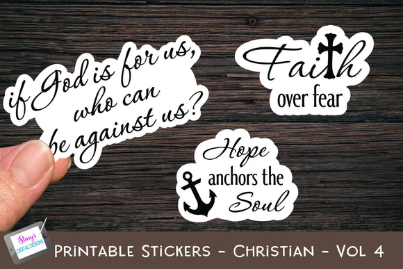 Printable Stickers - Christian Bible Verses - Vol. 4 - PNG