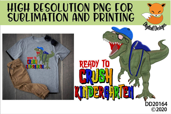 Dinosaur T-Rex Crush Kindergarten School Sublimation Design