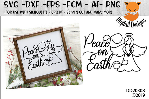 Peace On Earth Angel Christmas Winter SVG
