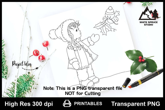 Winter Girl with Bird & Holly Printable Line Art PNG