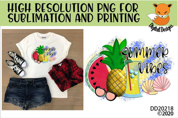 Summer Vibes Sublimation Design