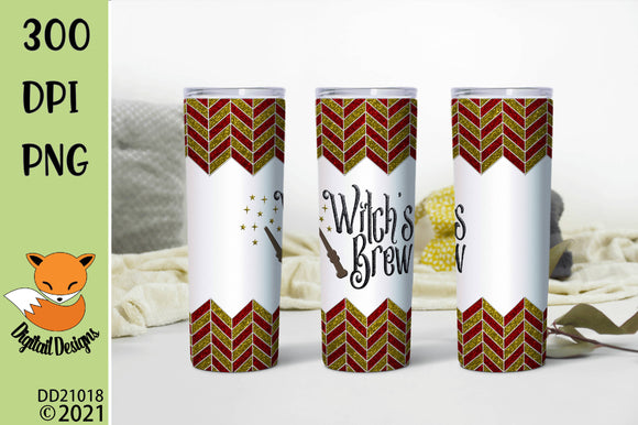 Red and Gold Chevron Witch's Brew Skinny Tumbler Sublimation Design