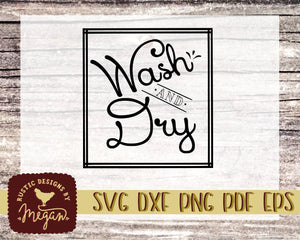 Wash & Dry Rustic Farmhouse Laundry Room SVG DXF EPS Commercial