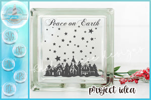 Peace On Earth Town Silhouette Glass Block Design SVG