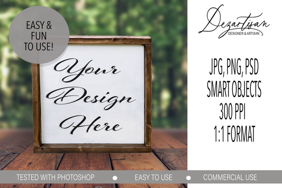 Square Wood Sign Mock Up Farmhouse Style PSD, JPG, PNG