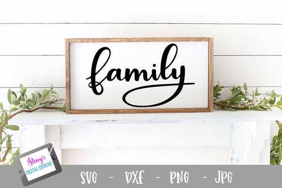 Family SVG - Handlettered Family Cut File