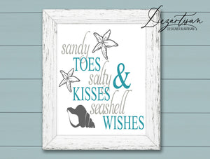 Sandy Toes Salty Kisses Seashell Wishes SVG | DXF Cut File