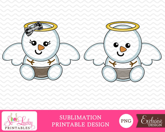 Snowman angels baby boy and girl watercolor printable sublimation design - Digital download - PNG - Printable