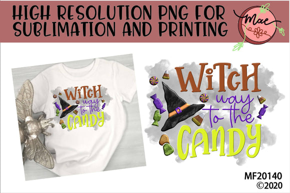 Witch Way To The Candy Halloween Sublimation Design