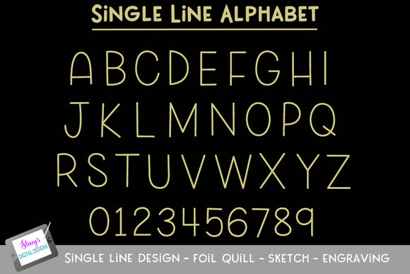 Single Line Alphabet - Foil Quill - Sketch - Engraving