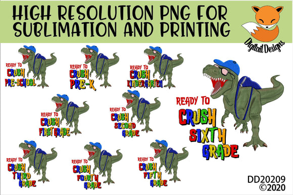 Dinosaur T-Rex Crush Grade School Sublimation Design Bundle