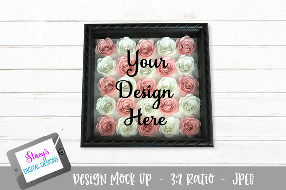 Mock Up - Rolled Flower shadow box - Pink and White