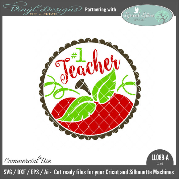 #1 Teacher Apple Ornament Design