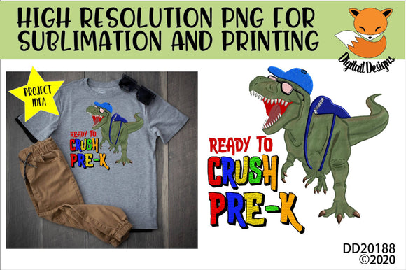 Dinosaur T-Rex Crush Pre-K School Sublimation Design