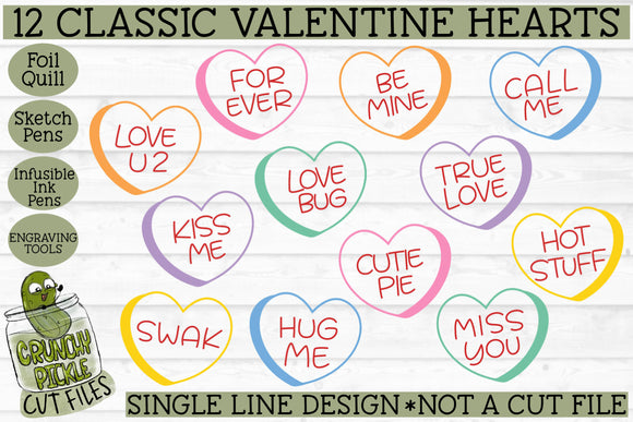 Foil Quill Valentine Classic Candy Hearts - Single Line SVG
