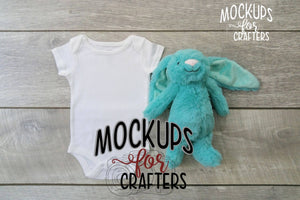 MOCK-UP baby bodysuit with teal dollar store bunny
