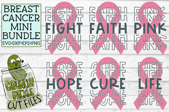 Breast Cancer Ribbon SVG File Mini Bundle