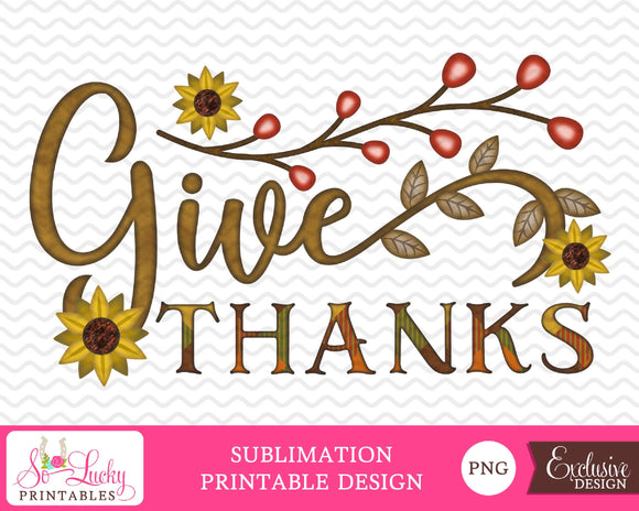 Give thanks fall watercolor printable sublimation design - Digital download - PNG - Printable graphic design