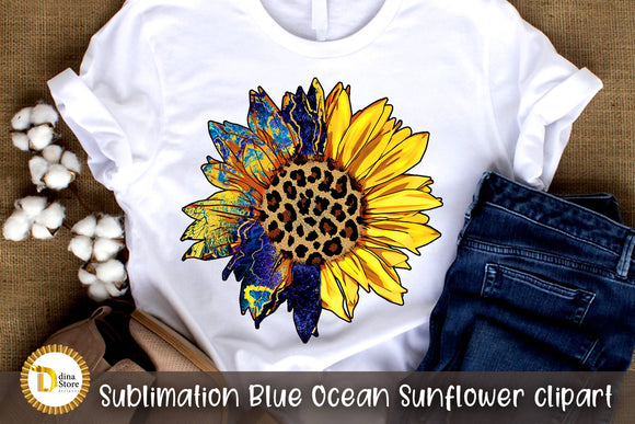 Sublimation Blue Ocean Sunflower clipart