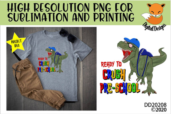 Dinosaur T-Rex Crush Pre-School Sublimation Design