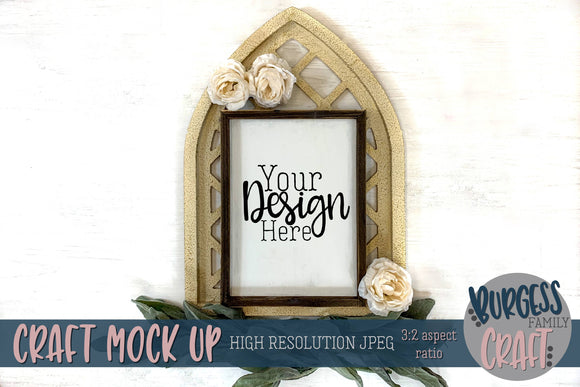 Vertical Wood Framed Christmas Sign | Craft mock up