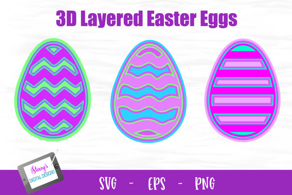 3D Layered Easter Eggs - 3 Layered Easter Egg Designs