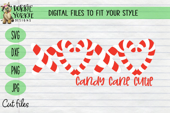Candy Cane Cutie XOXOXO SVG Cut File