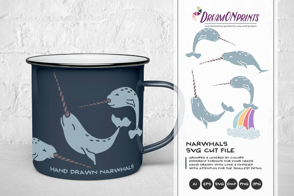 Narwhal SVG Cut Files, Unicorn SVG - Unicorn of the Sea