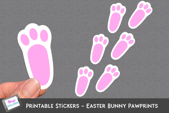 Easter Bunny Pawprints - Printable Stickers